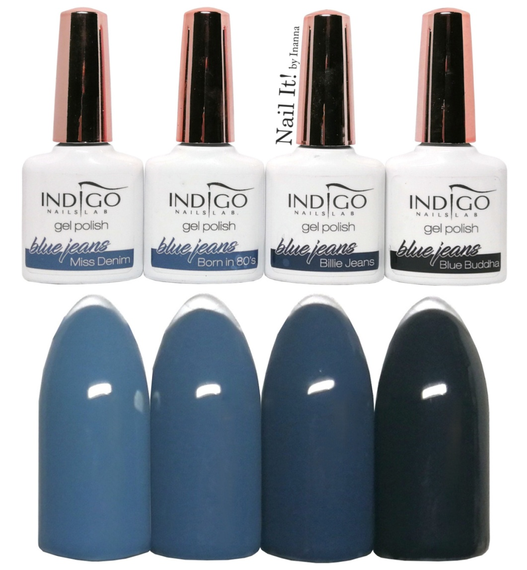 "Indigo Nails ""Blue Jeans"" Collection - swatches of all 4 colors"