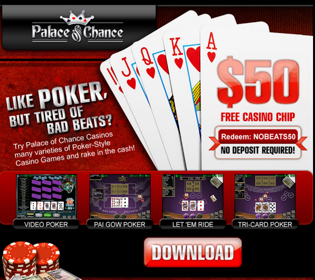 Palace of Chance Casino | Video Poker Games | $50 Free Chip Bonus