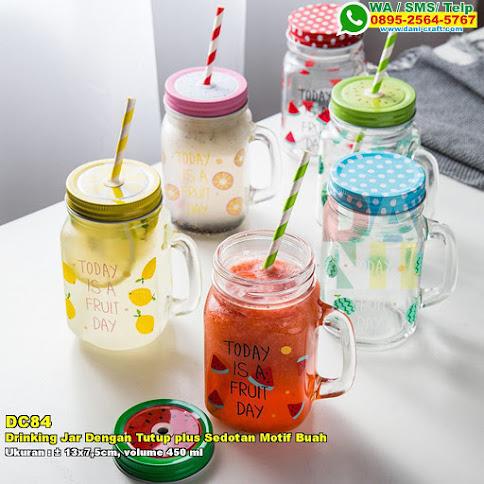 Drinking Jar Dengan Tutup Plus Sedotan Motif Buah