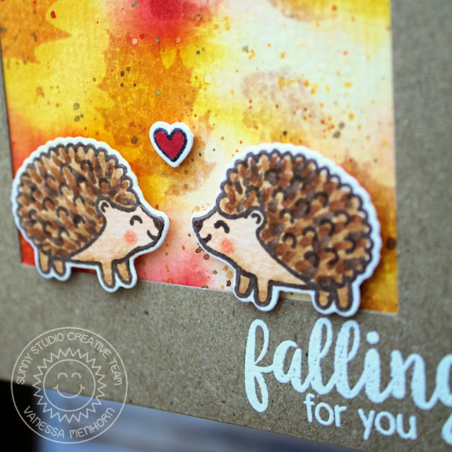 Sunny Studio Stamps: Autumn Splendor & Woodsy Creatures Hedgehog Fall Card by Vanessa Menhorn.