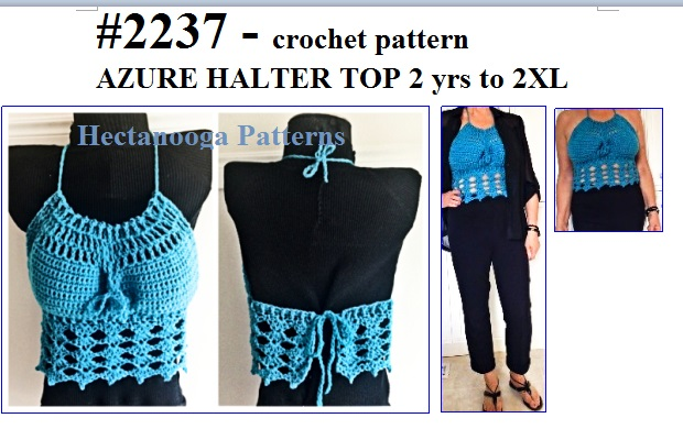 Hectanooga Patterns Free Crochet Halter Top Pattern Azure Blue