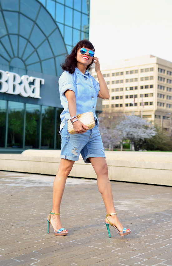 Denim Shorts And Denim Shirt Outfit