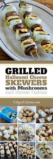 Grilled Halloumi Cheese Skewers with Mushrooms and Sweet Onions found on KalynsKitchen.com