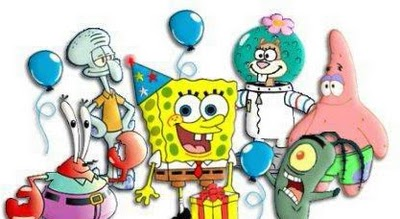 Cartoon Faces Of Sponge Bob And Friends On A Birthday