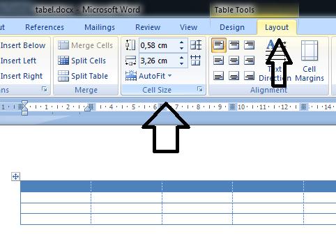 Mengatur ukuran kolom dan baris tabel microsoft word