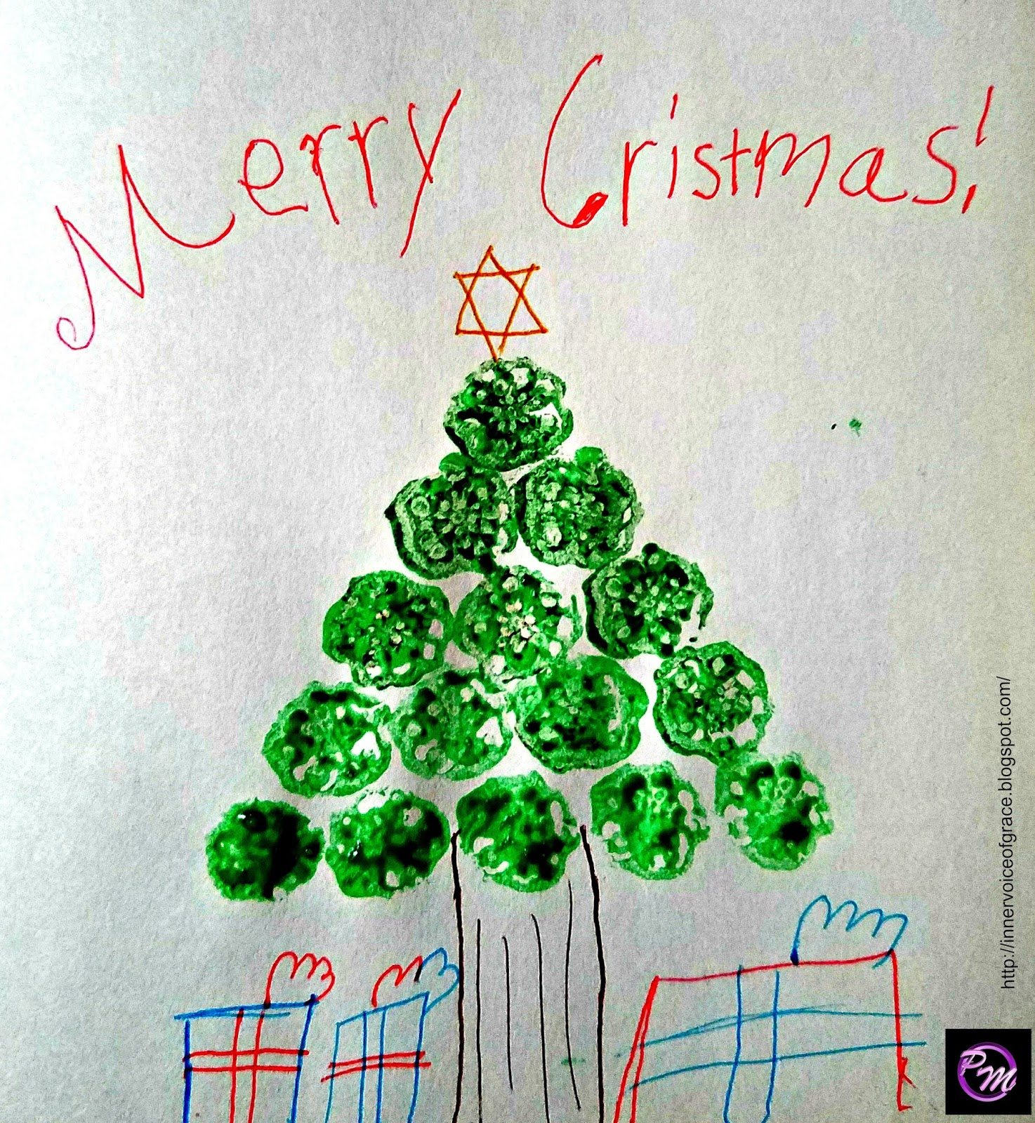 Poetic Mommy Vegetable Print Christmas Tree Card Diy