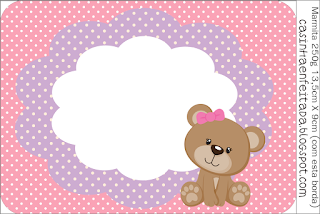 Cute Girl Bear: Free Printable Candy Bar Labels.
