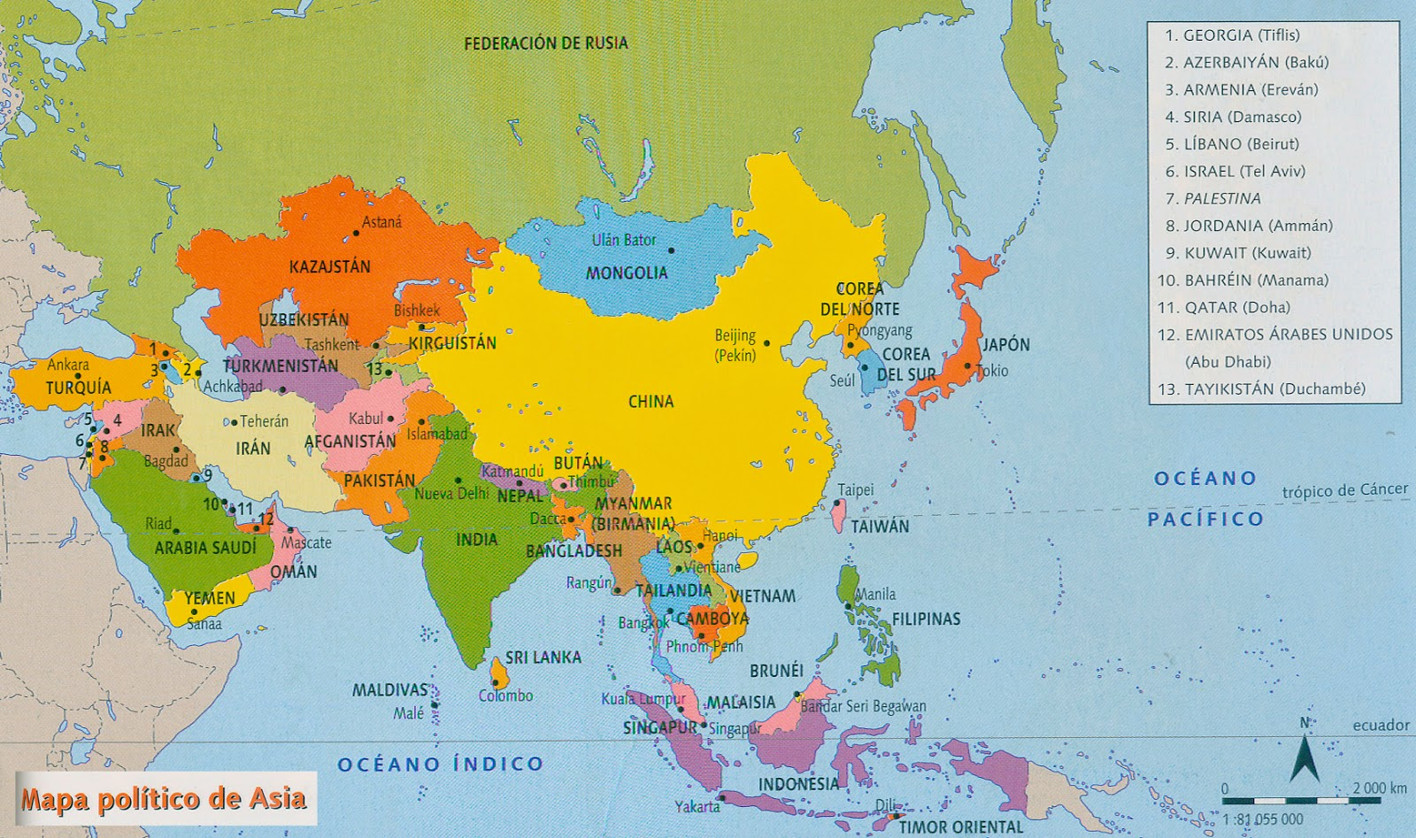 6th Grade Map Of Asia.Science At School Geography 6th Grade