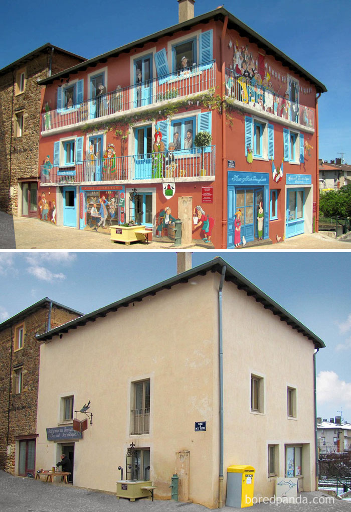 10+ Incredible Before & After Street Art Transformations That'll Make You Say Wow - Clochemerle, Vaux En Beaujolais, France