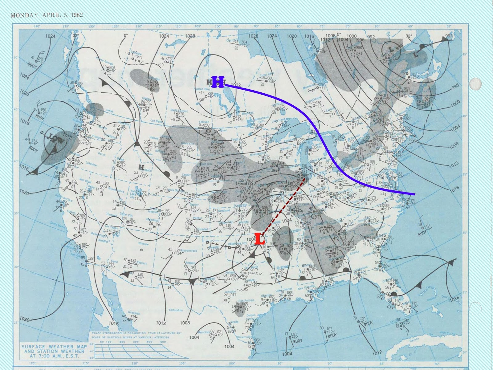 april 5th 1982 weather map