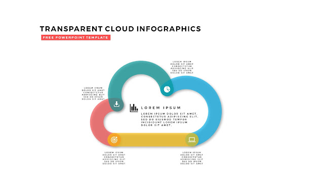 Free Infographic PowerPoint Design Elements with Transparent Clouds in White Background Slide 3