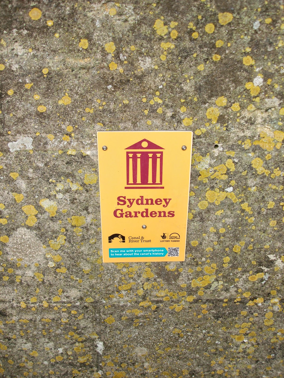 Sydney Gardens sign, Bath, England