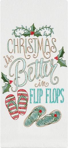 Christmas is Better in Flip Flops Kitchen Towel