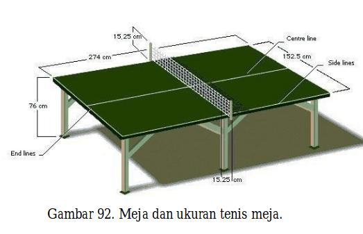 gambar ukuran tenis meja