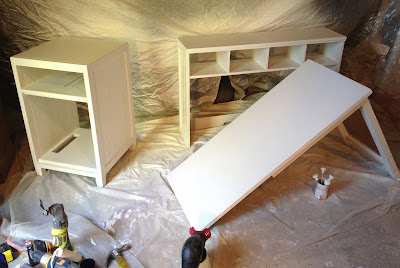 desk painted with sprayer