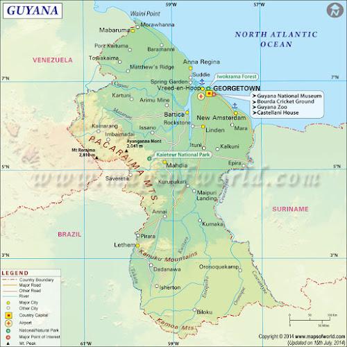 Mapa da Guiana