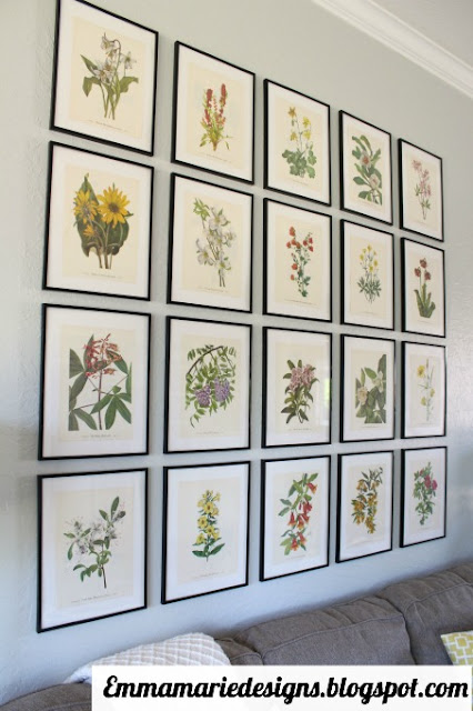 20 statement making botanical prints hung in a grid in the living room @ emmamariedesigns.blogspot.com