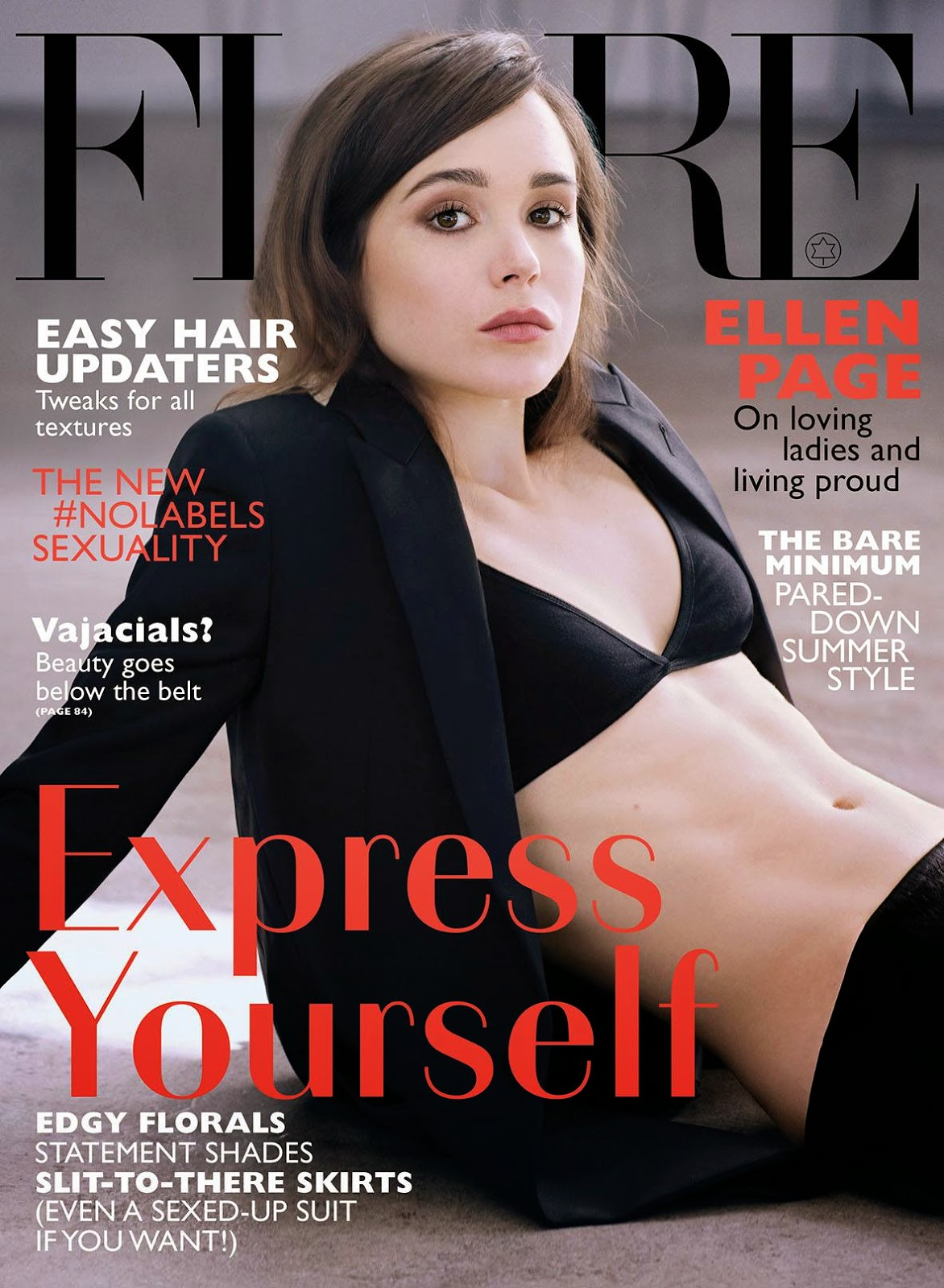 Ellen Page wears a black bra for the Flare June 2014 cover
