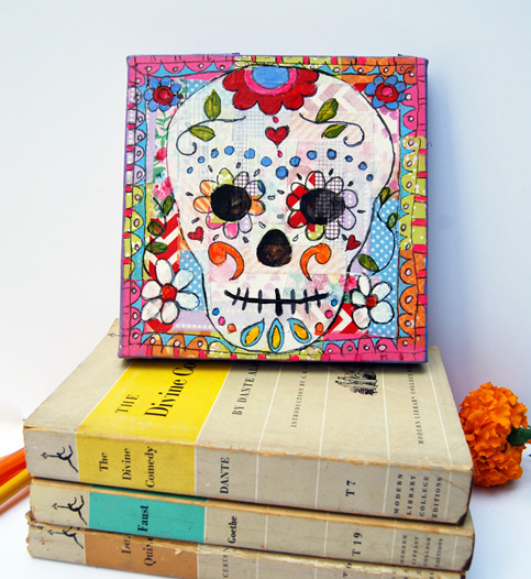 mixed media suga skulls http://schulmanart.blogspot.com/2015/07/how-art-changes-way-we-think-about-death.html