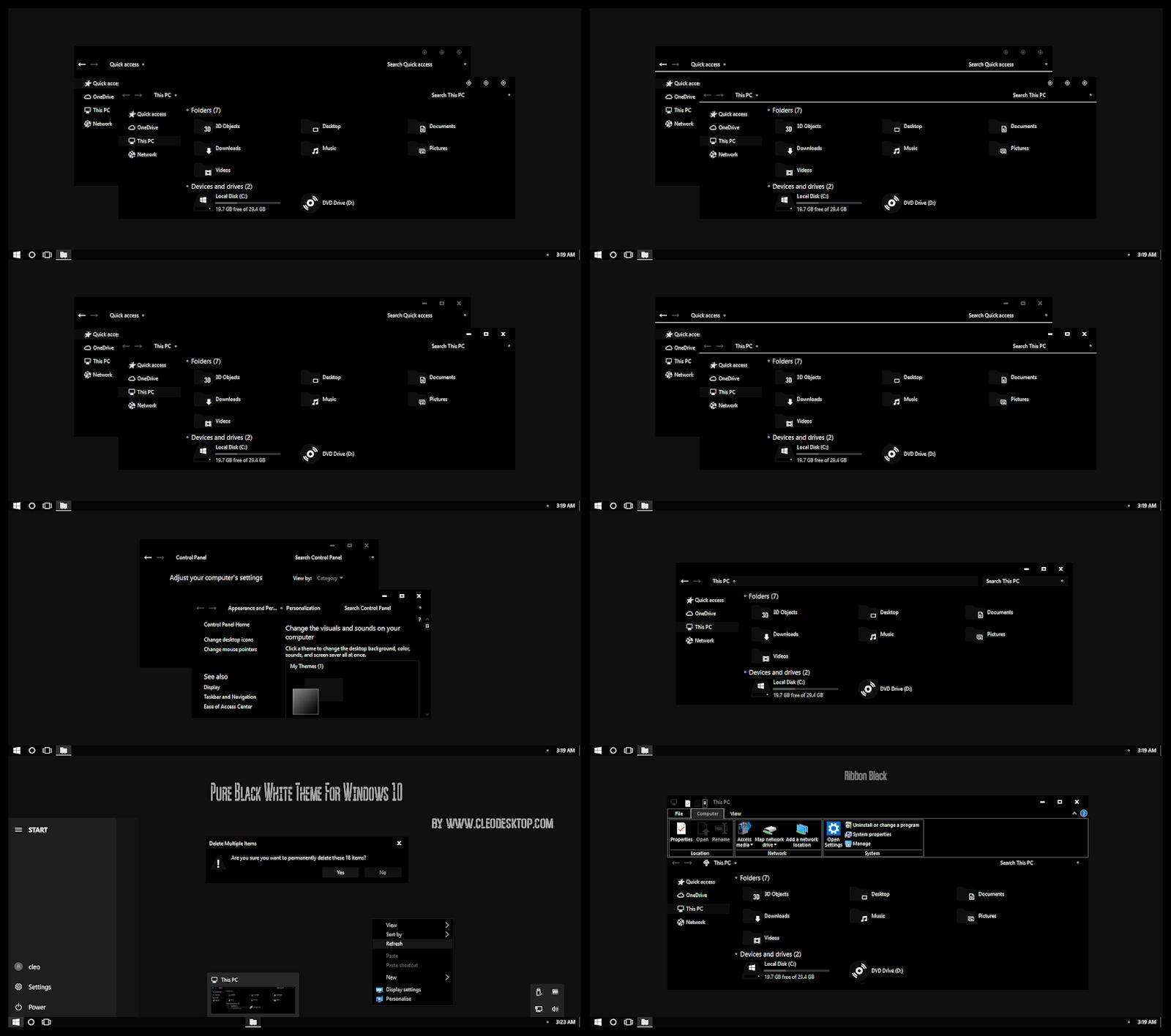 Pure Black White Theme For Windows10 2004