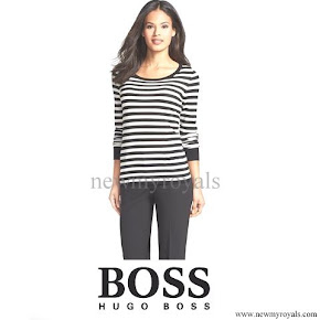 Queen Letizia Style HUGO BOSS Stripe Wool Sweater