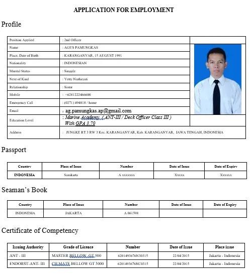 contoh cv pelaut rating bahasa inggris