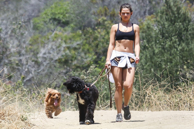 Danielle Campbell in Shorts and Sports Bra – Hiking in Griffith Park in Los Feliz, July 2016