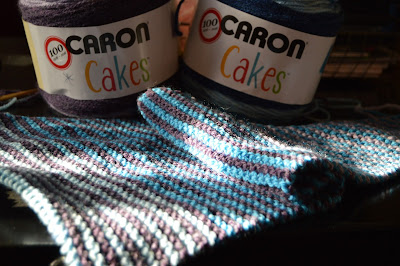 hand knit striped triangular scarf