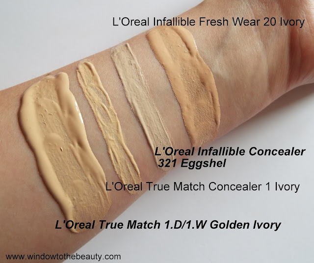 loreal foundations and concealers swatches