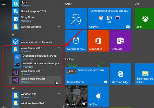 Visual Studio 2017 - Menu Démarrer