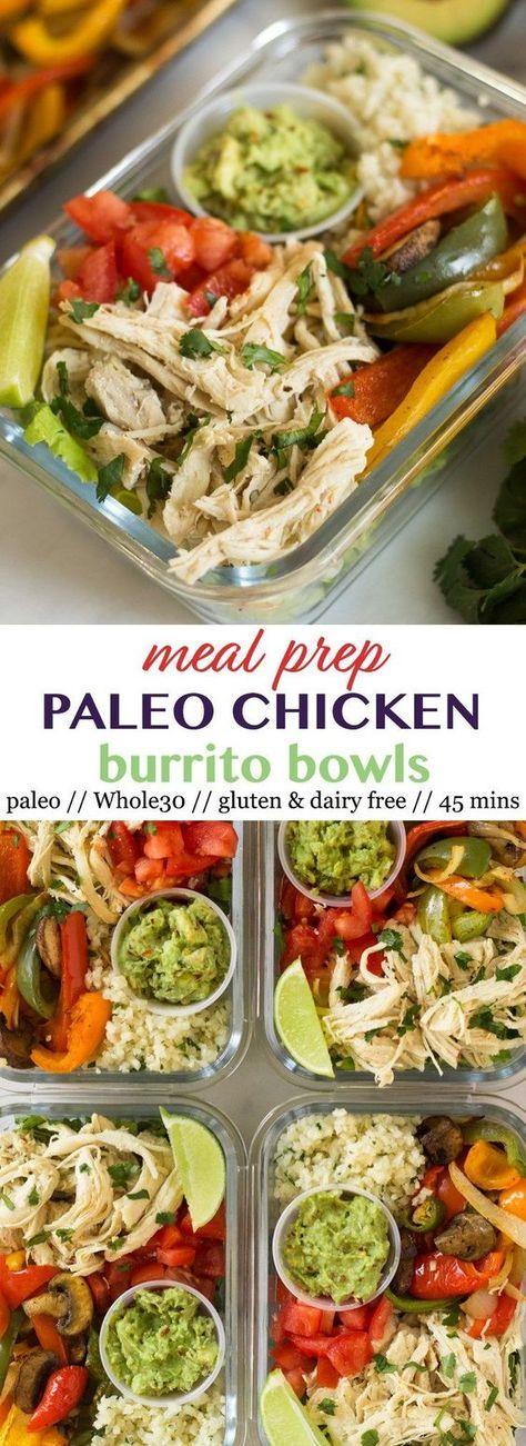 Meal Prep Paleo Chicken Burrito Bowls