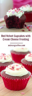 Red velvet cupcakes with cheese cream frosting. Using gluten free flour and topped with freeze dried strawberries and strawberry hearts
