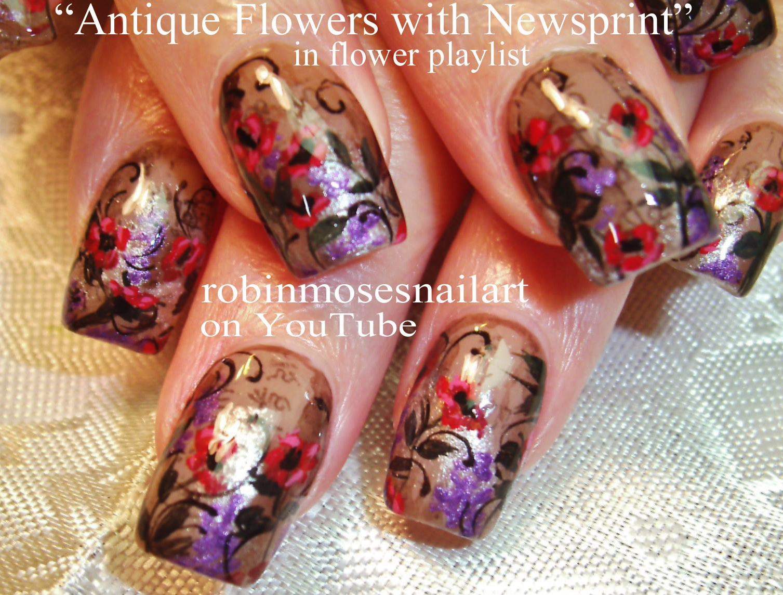 Nail Art By Robin Moses Antique Nails Nail Art Pink Flower