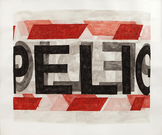 watercolor Jorge Macchi danger tape, 2011