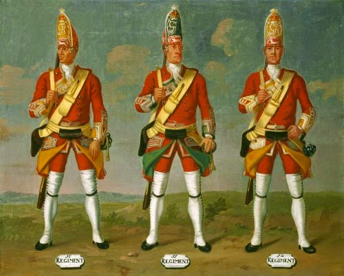 10th, 11th and 12th Regiments of Foot, Grenadiers, 1751