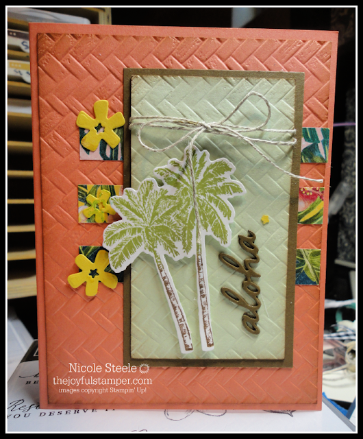 Timeless Tropical card using Tropical Oasis DSP, In The Tropics dies, and Coastal Weave embossing folder | by Nicole Steele The Joyful Stamper