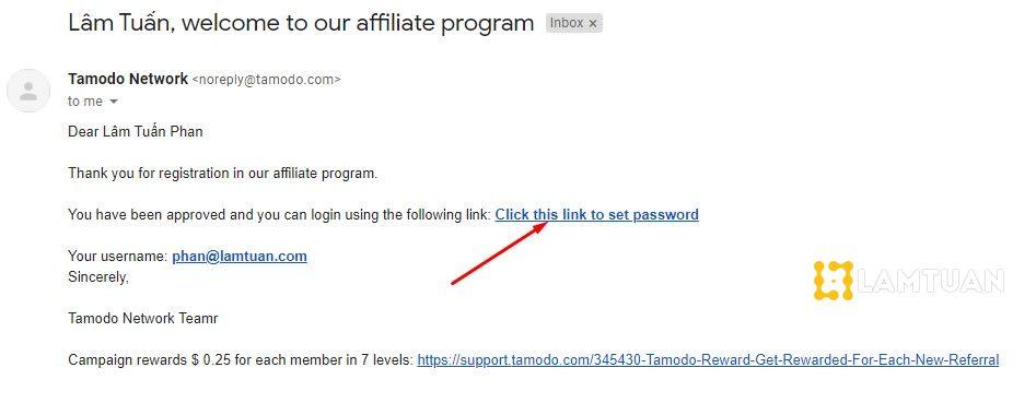 Cài đặt mật khẩu cho tài khoản Tamodo