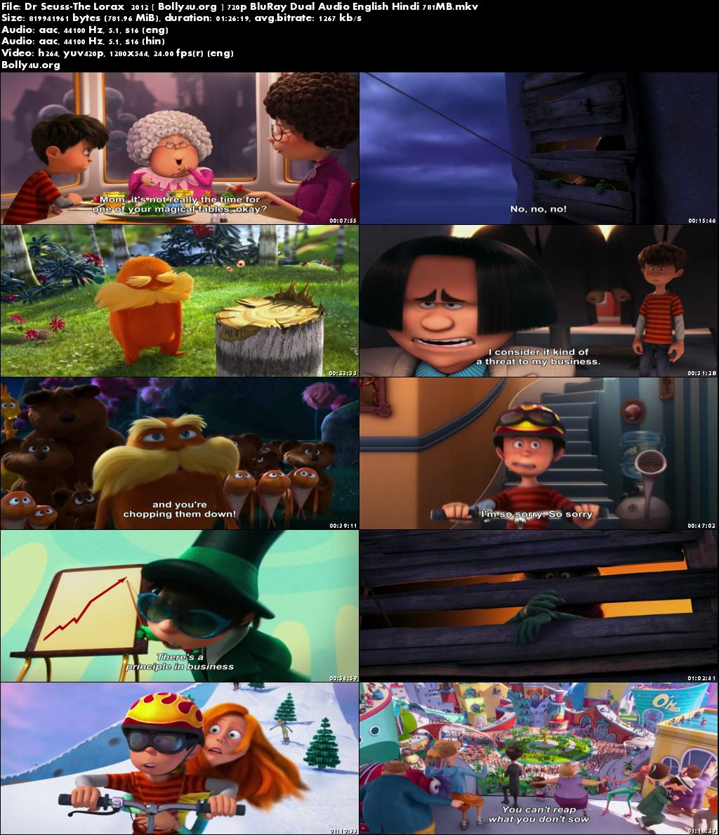 Dr Seuss The Lorax 2012 BluRay 280Mb Hindi Dual Audio 480p Download