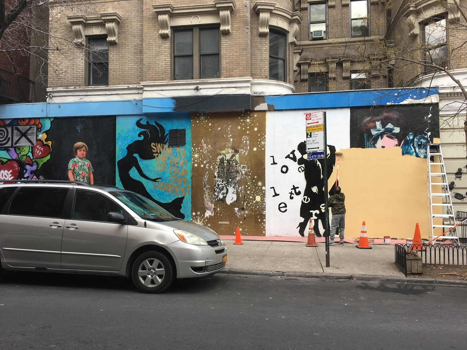 Meanwhile A Worker Painted Over The Murals On 12th Street Side Yesterday As This Photo Via EVG Reader Charlie Chen Shows