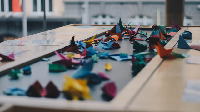 Various origami laid on a table