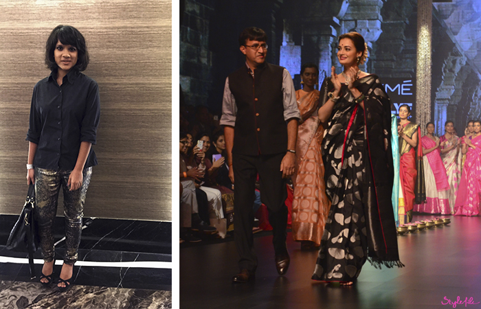 Bollywood celebrity Dia Mirza wears a traditional Indian saree for Tulsi Silks at Lakme Fashion Week in Mumbai India