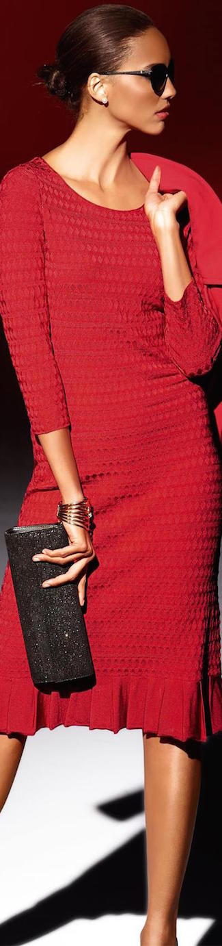 MADELEINE KNIT DRESS IN RED