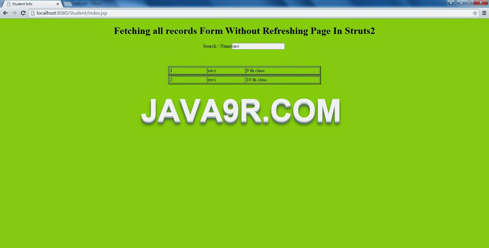 Java9R: Fetching all records Form Without Refreshing Page In Struts2