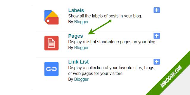 Pilih pages widget
