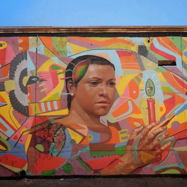 """""""Defender Lo Que Nos Queda"""" New Street Art Mural by Peruvian Artist El Decertor In Cartagena, Colombia. 3"""