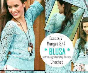 Blusa Crochet con diseño calado y escote V / Paso a paso