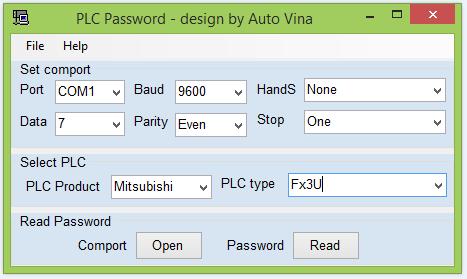 Phần mềm mở khóa PLC, Unlock pass, Crack password PLC Mitsubishi Fx3U, Fx3G, Fx3GA, ...