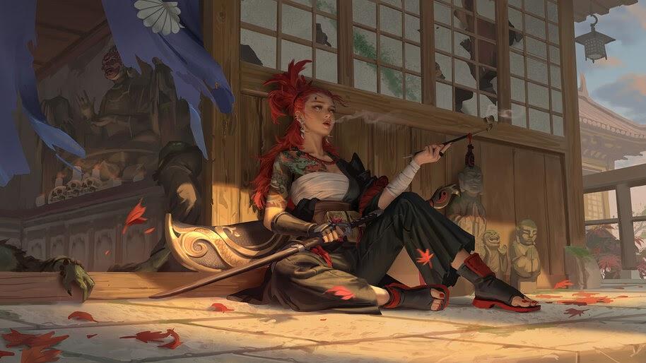 Samurai, Warrior, Tattooed, Girl, Fantasy, 4K, #4.948