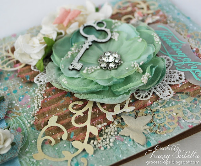 Shabby Mixed Media Card for Scraps of Elegance, Prima Flowers, BoBunny, Prills, Blue Fern Studios Chipboard