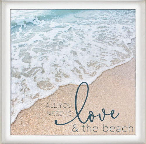 Ocean Beach Photo Love Quote Framed Print